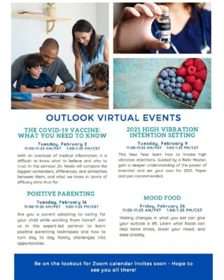 Happy first Friday of the month! Our lifestyle virtual seminars are one of the many employee perks we have at Outlook Amusements. From yoga to mixology, we keep a well-rounded to include everyone on our teams. We have some cool and informative virtual events planned for this month! Which are you most excited about? #lifeatoutlook #virtualseminars #COVIDvaccine #positiveparenting #moodfood #perks