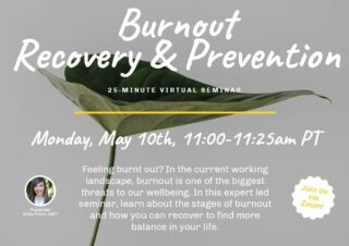 Feeling burnt out? You're not the only one. The novelty of working from home has died down and now many have entered a routine that revolves around being entirely at home. This can be detrimental for many when your down time and work time happen in the same place. May is Mental Health Awareness Month and this week's seminar was about burnout recovery and prevention. Led by expert Abby Krom, we learned the stages of burnout and how we can recover to find more balance in our lives. #lifeatoutlook #virtualseminar #burnoutrecovery #burnourprevention #marinowellness #remotework
