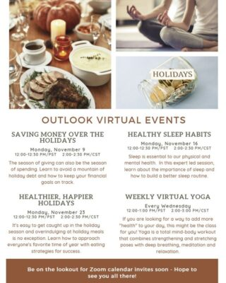 Holiday season is upon us! Which could mean stress is at an all time high for many. But here at Outlook, we understand and want to look out for coworkers! We are offering virtual seminars to help save money, develop healthier sleep habits, and have an overall healthier and smoother holiday season. How is your current company supporting you? #lifeatoutlook #holidayseason #virtualseminars