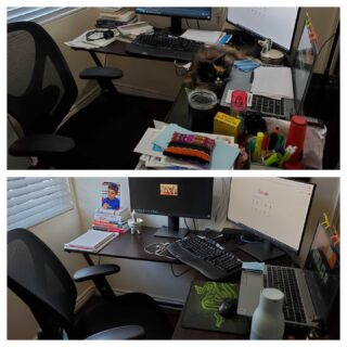 It's National Clean Your Desk Day and our coworkers really did their part! We have before and after photos to prove it! If your desk looks like our before photos, take this post as your sign to clean your desk! #lifeatoutlook #nationalcleanyourdeskday