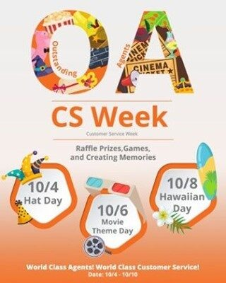 This was supposed to go up yesterday but... you know...   It's officially the start of Customer Service Week and we are ready to celebrate our (o)utstanding (a)gents here at OA! (Get it?)  Buckle up, it's about to be a good one! 🤠 🎥 🌴   #CustomerServiceWeek #PowerOfService #CSWeek #lifeatoutlook